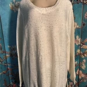 Woman Within Ivory Sequin Step Hem Sweater